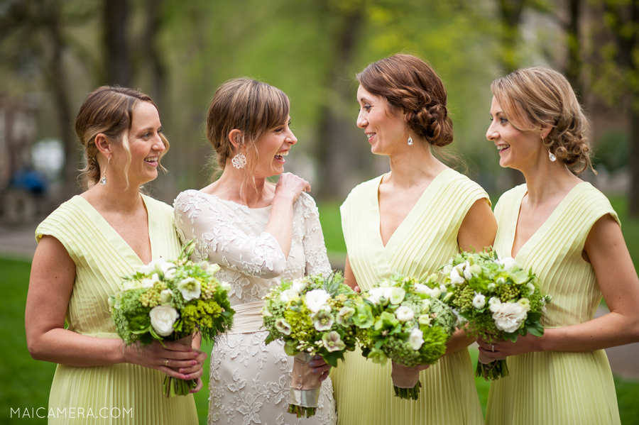 Laughing Bridemaids by Portland Wedding Photographer MaiCamera Photography