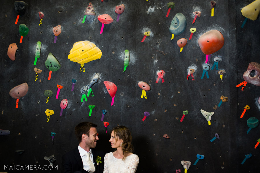 Wedding Portraits at the Circuit Climbing Gym
