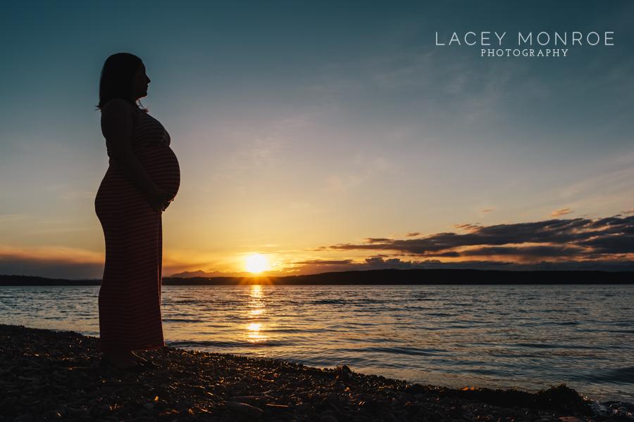 sunset, maternity, lake, puget sound, tacoma, lacey monroe photography