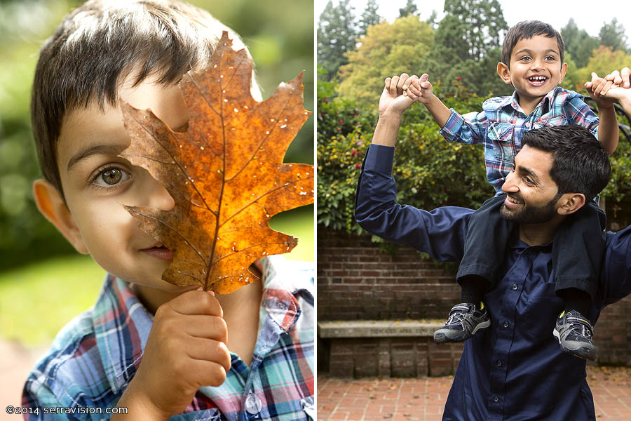 photo collage of little boy playing outside with his dad in the fall leaves in portland oregon