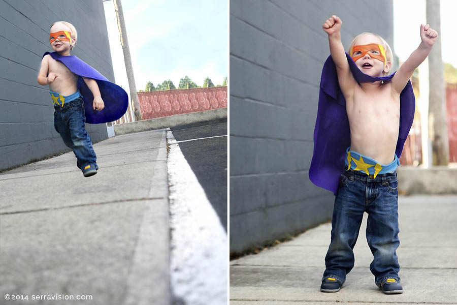 Little boy dressed up in fabulous colorful superhero gear from the Treehouse Children