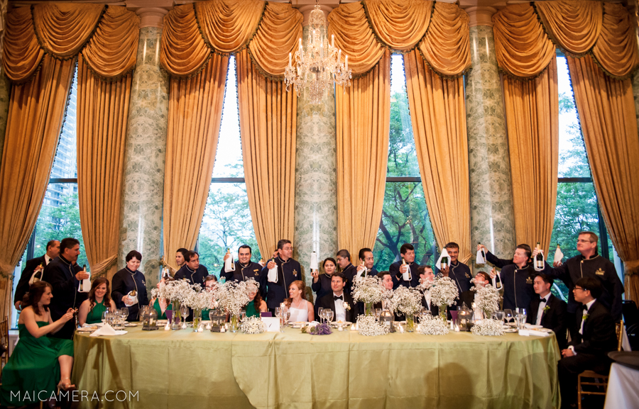 Champagne Toast at Ballroom Wedding by MaiCamera Photography