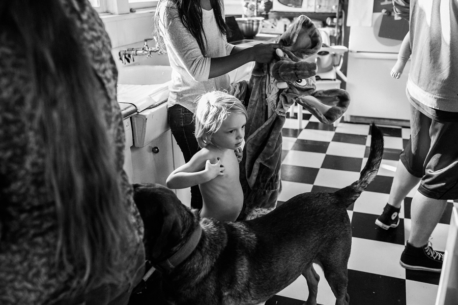 family busy in the kitchen with dog and children lacey monroe photography