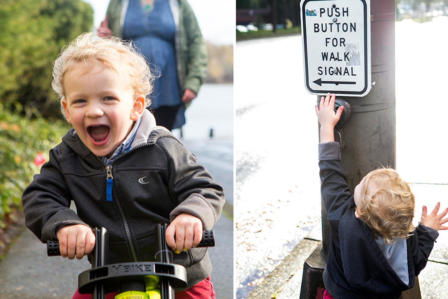 lifestyle photography captures pictures of a little boy and his family taking a walk outside