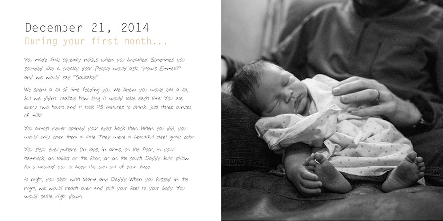 This is a spread from the book Serravision Photography made for her son