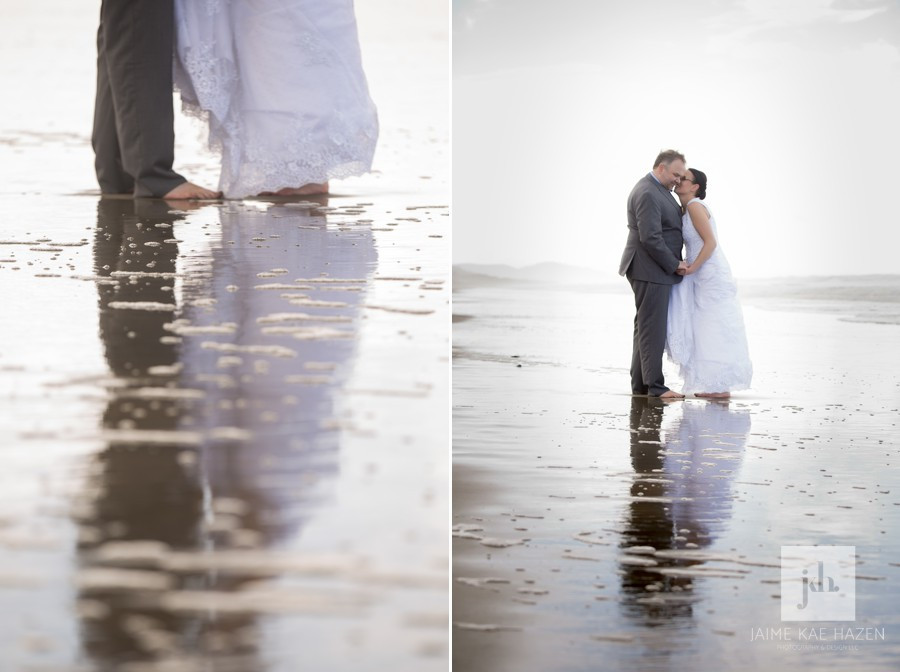 Bride and groom at their destination wedding on the Oregon Coast beach