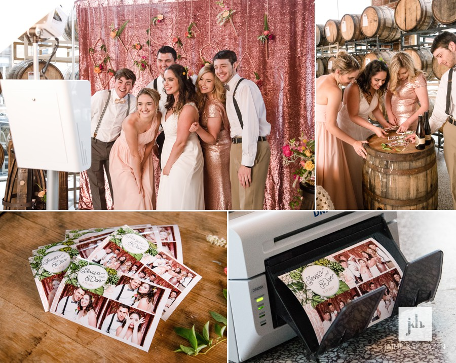 Guests use the photo booth rental at a Portland wedding. A pink sequin backdrop with floral accents hangs behind them as they pose for a silly photo booth picture. Instant prints offer guest a keepsake wedding favor.