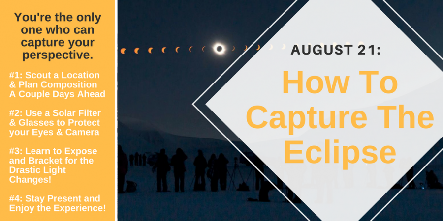 how to capture the eclipse - a brief infographic that covers the basics of planning your location, protecting your eyes and your equipment with glasses and filters, learning to bracket your exposure for drastic light changes, and most importantly staying present to the experience.