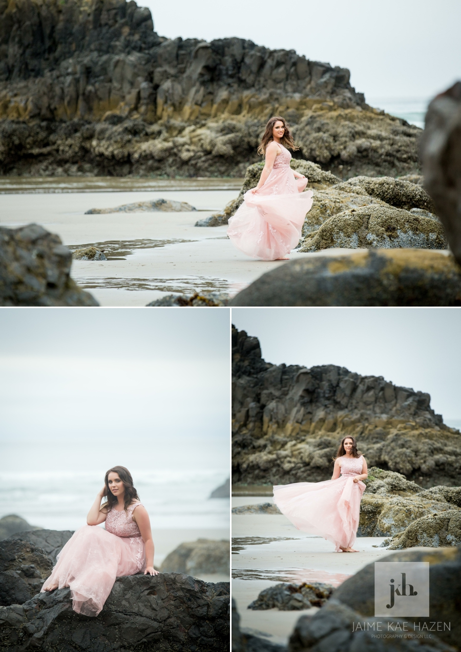 Girl in a pink dress on the rocky cliff beach. Cannon Beach photographer captures beach session at Indian Beach in Ecola State Park.