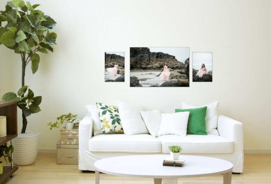 Wall art arrangement of canvases for in person sales by Photographer Jaime Kae Hazen Photography & Design LLC.