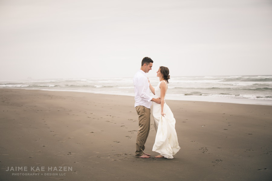Mallori and Tyler had a very windy and foggy wedding on the beach in Rockaway Beach, Oregon. They didn't get to choose the weather, but they still chose to embrace it and make the best of the situation. I love the clean look and feel of wedding photos on the beach when it's completely socked in with fog and clouds.