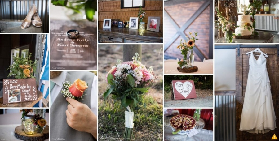 collage of rustic wedding detail photos for a wedding album
