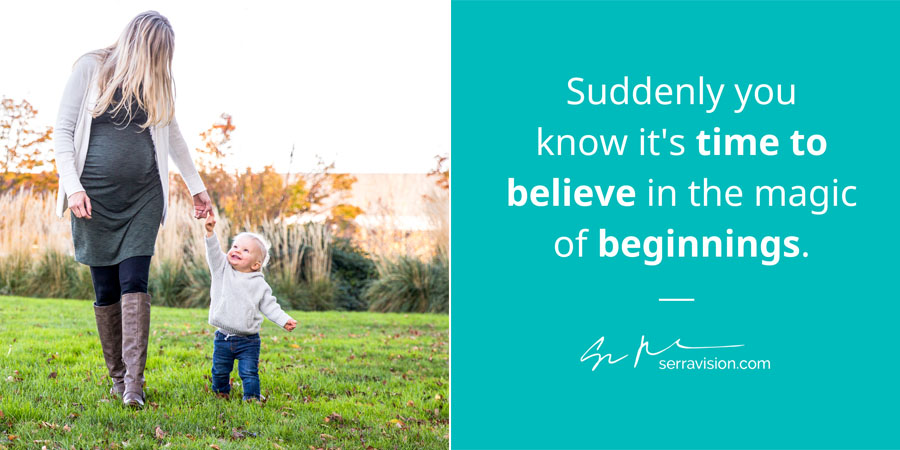 """toddler boy walks with his pregnant mom through a field in downtown Portland, caption reads, """"Suddenly you know it"""